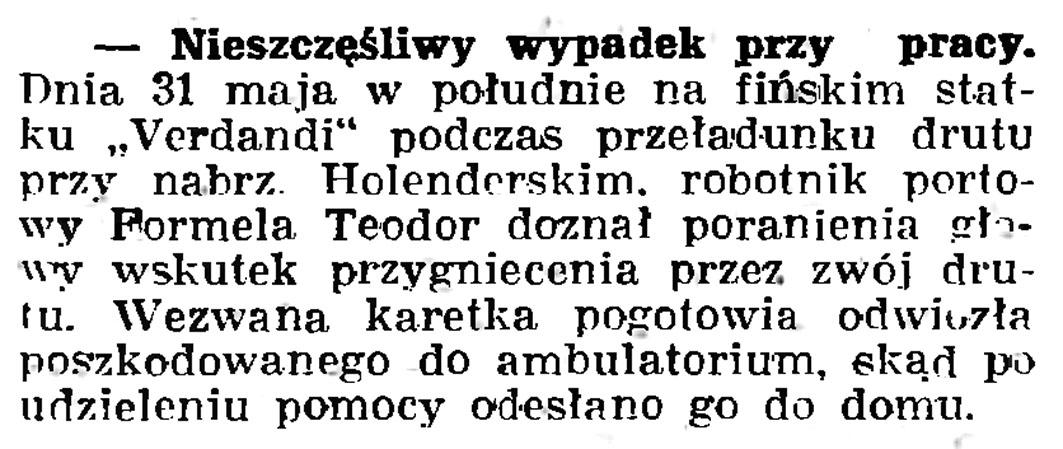 Nieszczęśliwy wypadek przy pracy // Gazeta Gdańska. - 1937, nr 123, s. 8