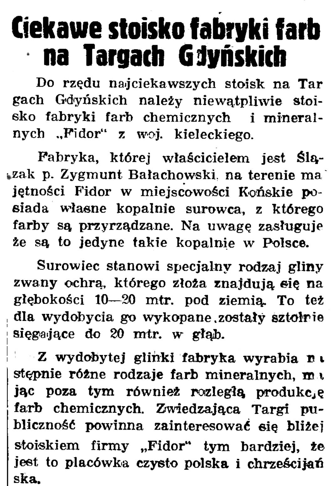 Ciekawe stoisko fabryki farb na targach Gdyńskich // Gazeta Gdańska. - 1937, nr 148, s. 8