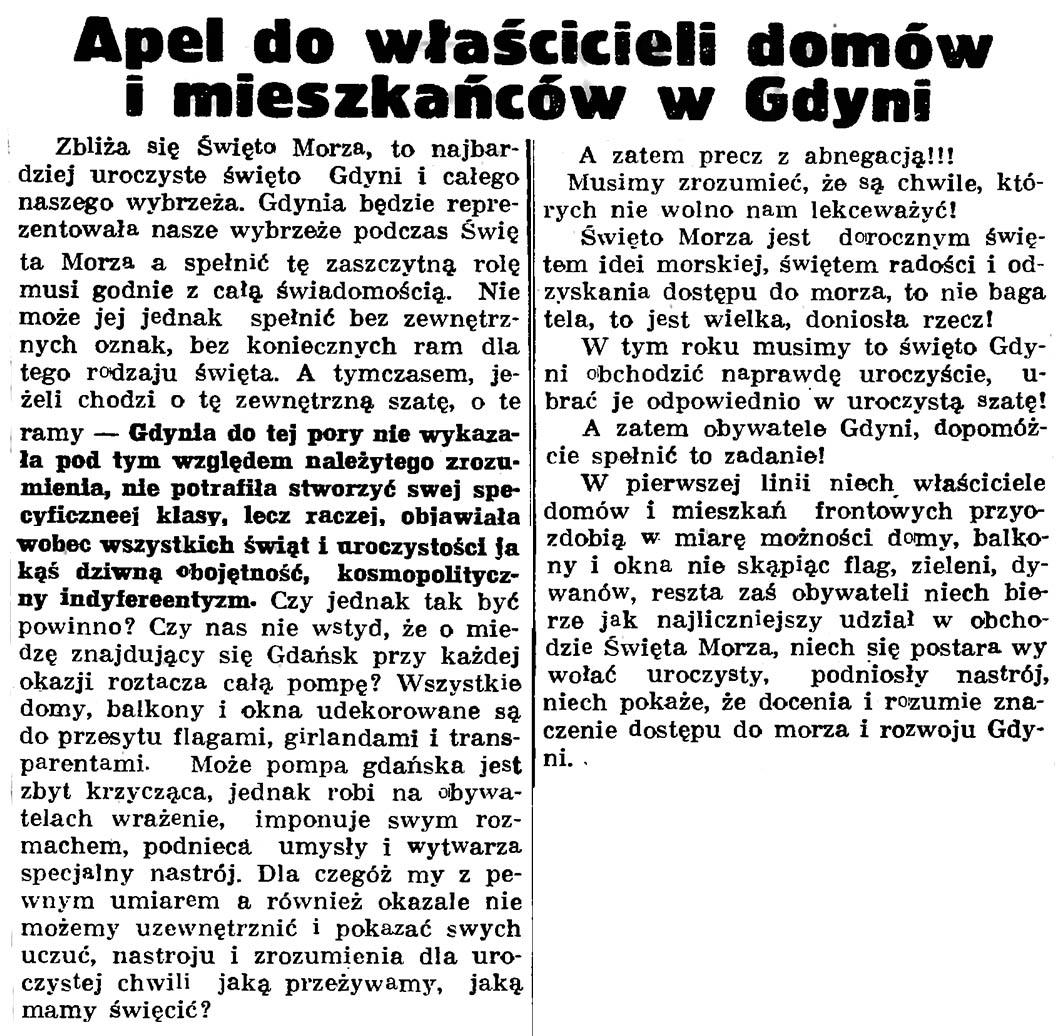 Apel do właścicieli domów i mieszkańców w Gdyni // Gazeta Gdańska. - 1937, nr 150, s. 10