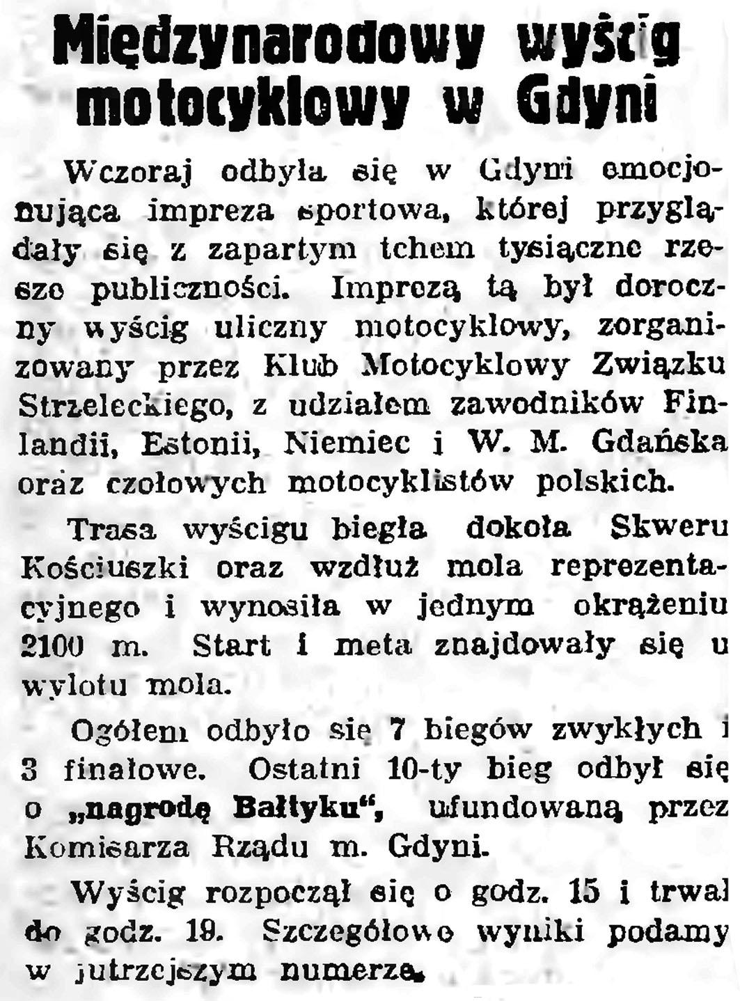Międzynarodowy wyścig motocyklowy w Gdyni // Gazeta Gdańska. -1938, nr 150, s. 4