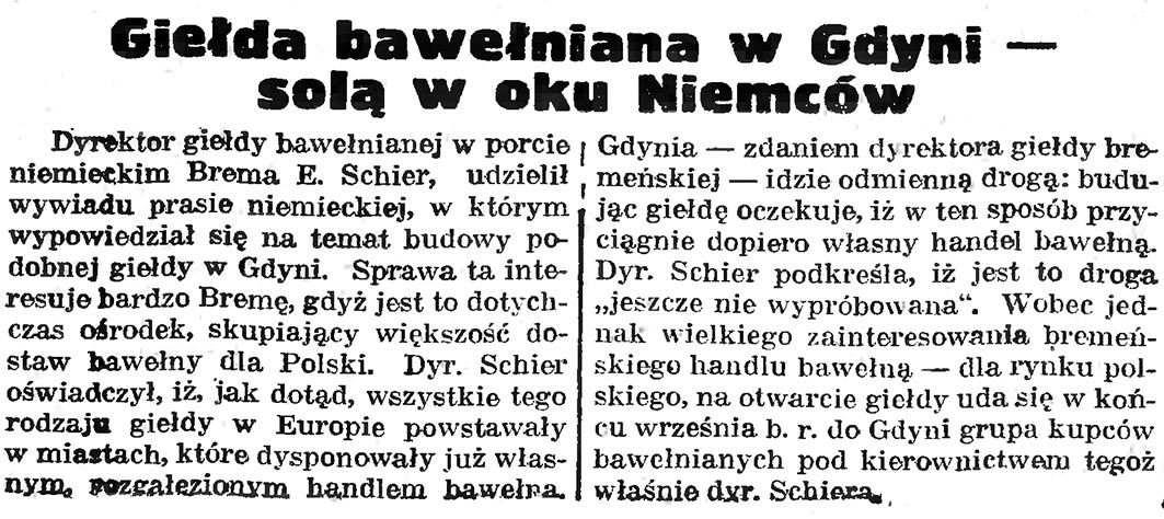 Giełda bawełniana w Gdyni - solą w oku Niemców // Gazeta Gdańska. - 1936, nr 185, s. 5