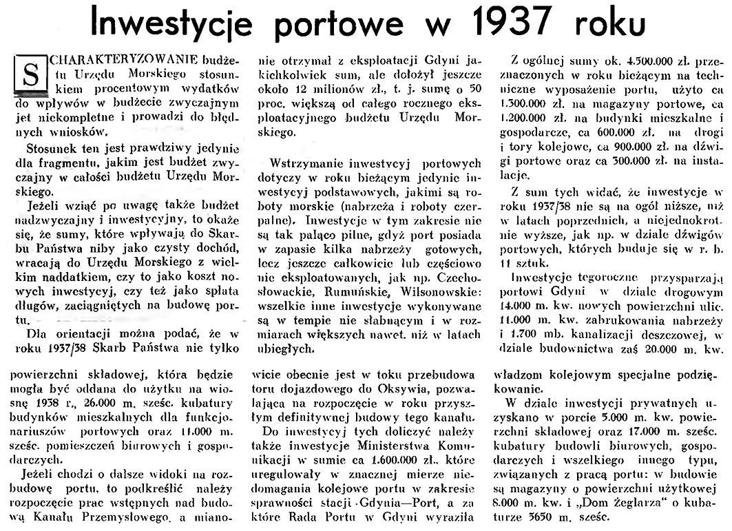 Inwestycje portowe w 1937 roku // Wiadomości Portu Gdyńskiego. - 1937, nr 12, s. 13-14
