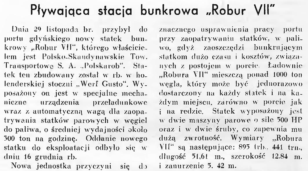 """Pływająca stacja bunkrowa """"Robur VII"""" // Wiadomości Portu Gdyńskiego. - 1937, nr 12, s. 14"""