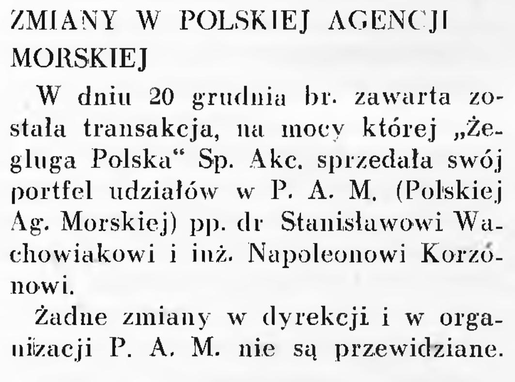 Zmiany w Polskiej Agencji Morskiej // Wiadomości Portu Gdyńskiego. - 1937, nr 12, s. 16