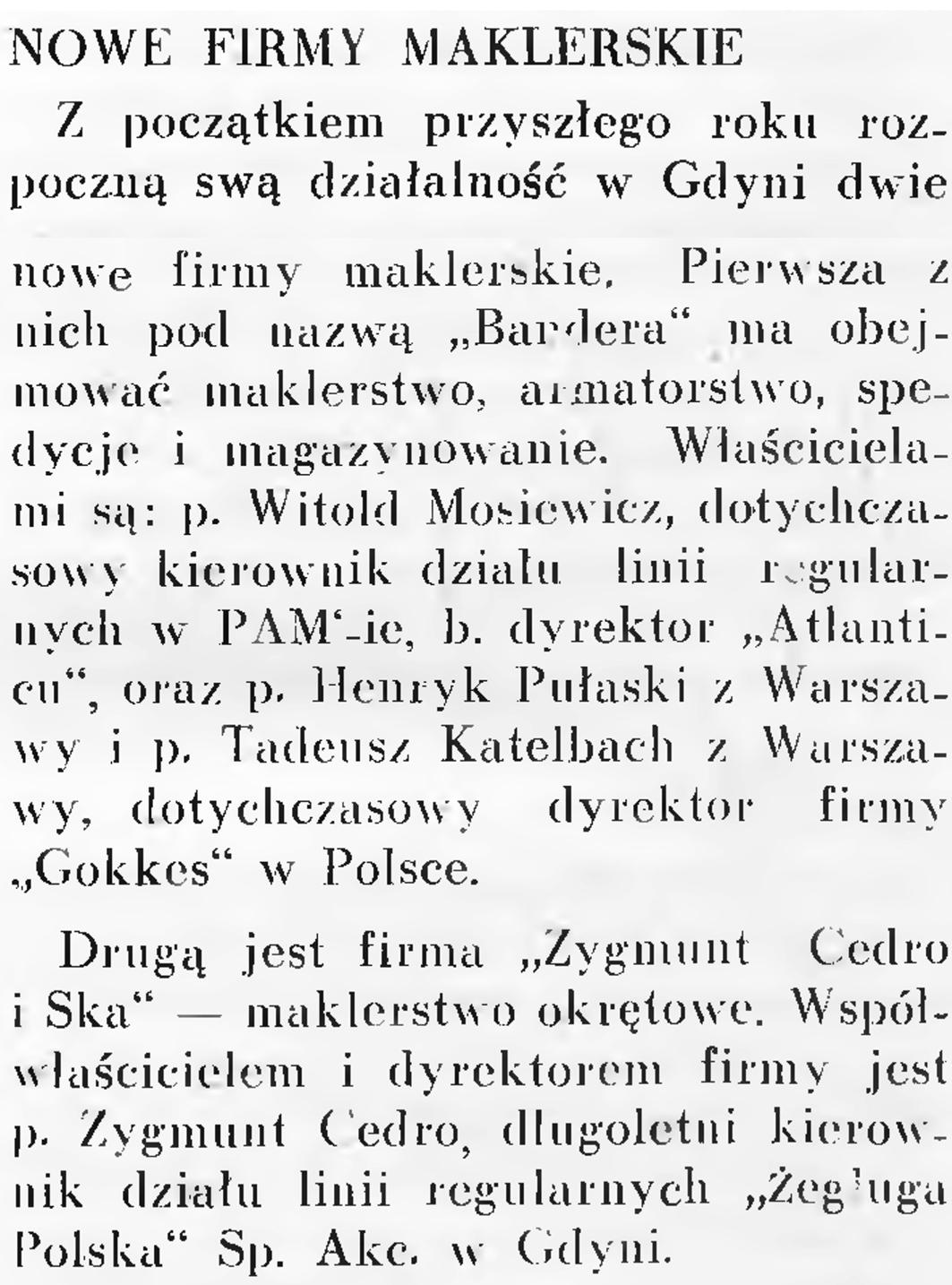 Nowe firmy maklerskie // Wiadomości Portu Gdyńskiego. - 1937, nr 12, s. 16