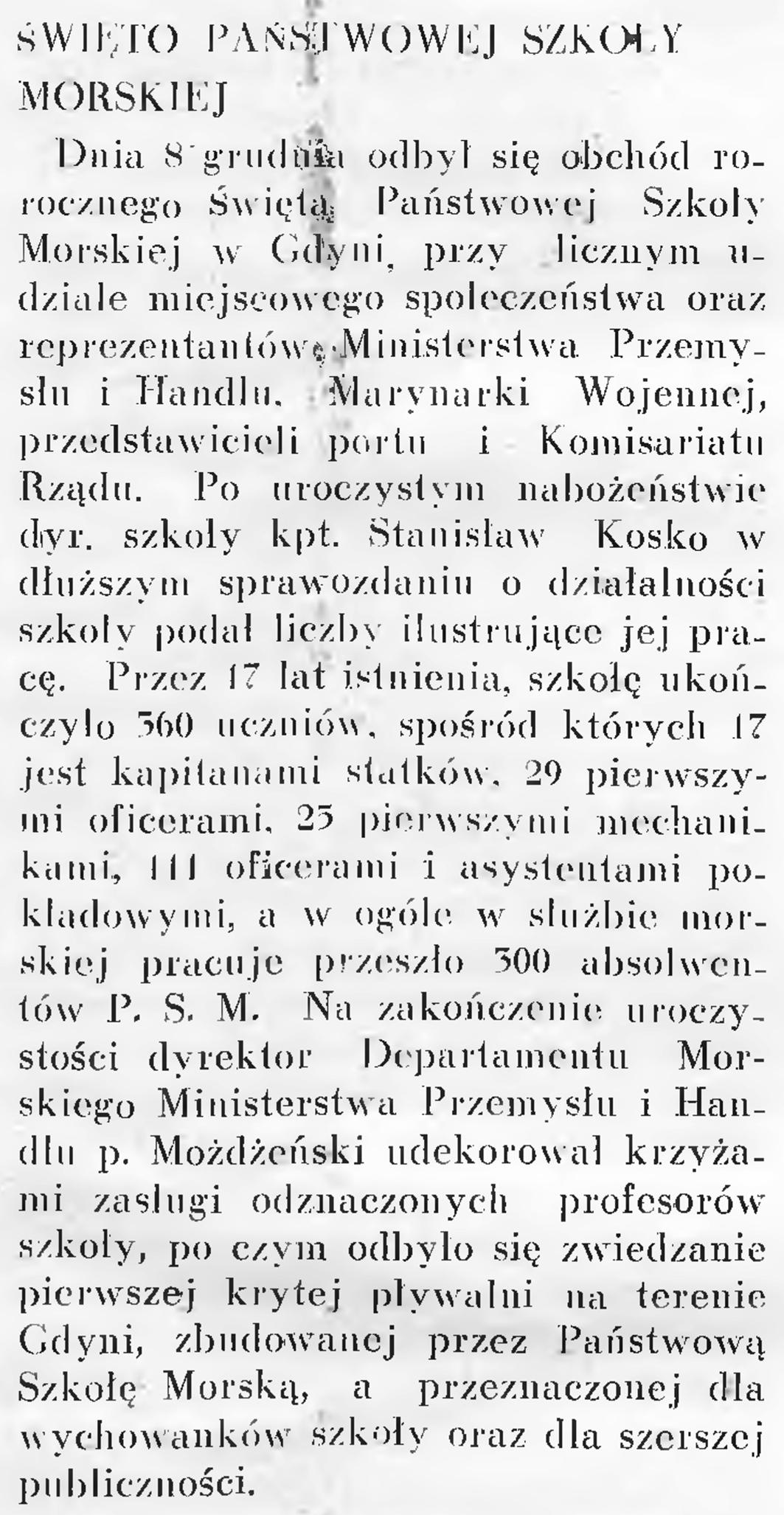 Święto Państwowej Szkoły Morskiej // Wiadomości Portu Gdyńskiego. - 1937, nr 12, s. 17