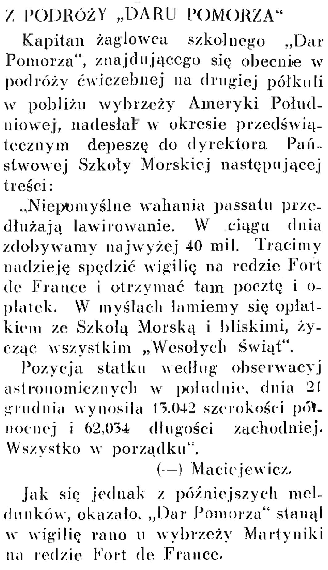 """Z podróży """"Daru Pomorza"""" // Wiadomości Portu Gdyńskiego. - 1937, nr 12, s. 17"""