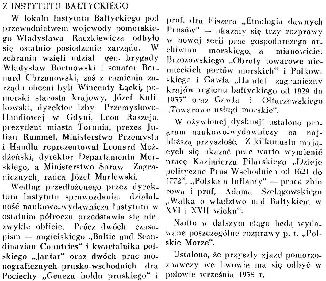 Z Instytutu Bałtyckiego // Wiadomości Portu Gdyńskiego. - 1937, nr 12, s. 17