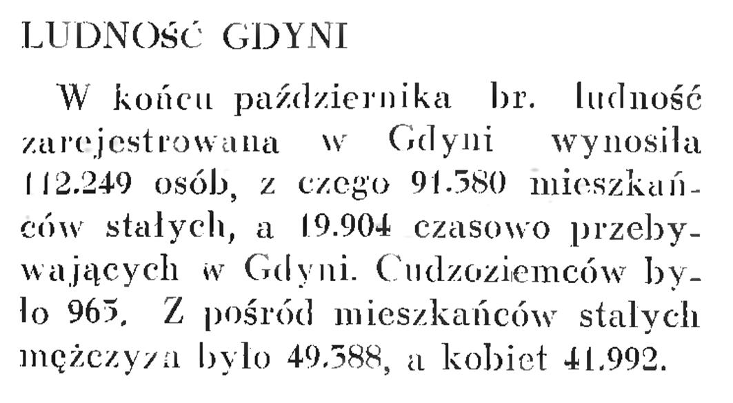 Ludność Gdyni // Wiadomości Portu Gdyńskiego. - 1937, nr 12, s. 17