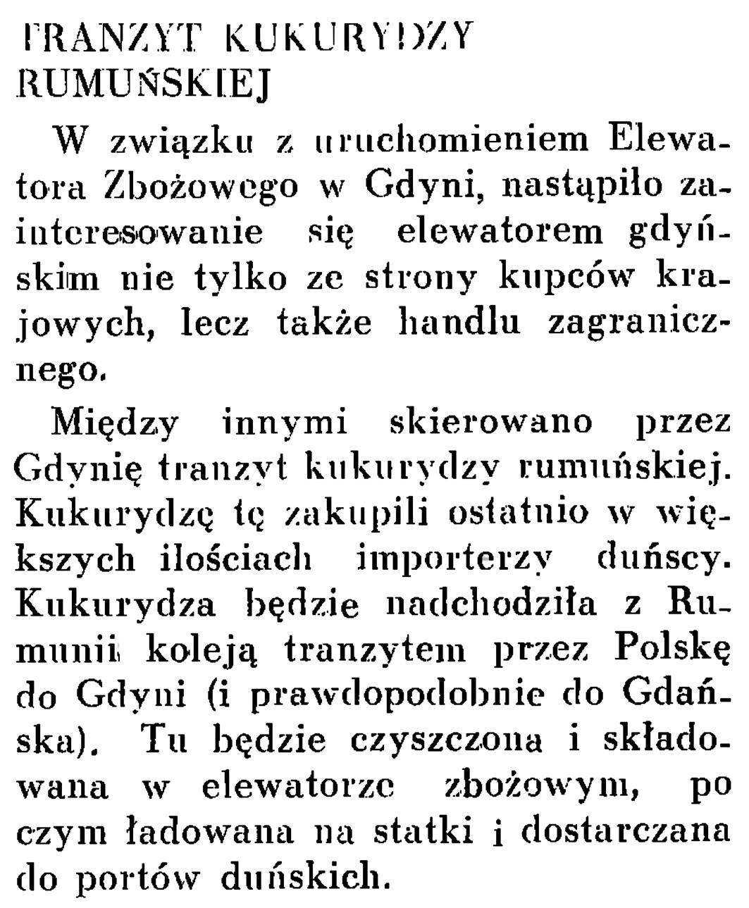 Tranzyt kukurydzy rumuńskiej // Wiadomości Portu Gdyńskiego. - 1937, nr 12, s. 18