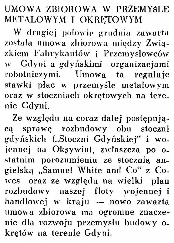 Umowa zbiorowa w przemyśle metalowym i okrętowym // Wiadomości Portu Gdyńskiego. - 1937, nr 12, s. 18