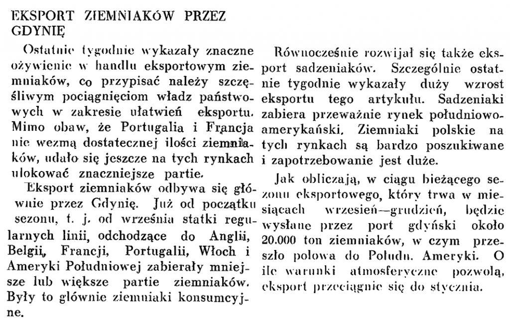 Eksport ziemniaków przez Gdynię // Wiadomości Portu Gdyńskiego. - 1937, nr 12, s. 18