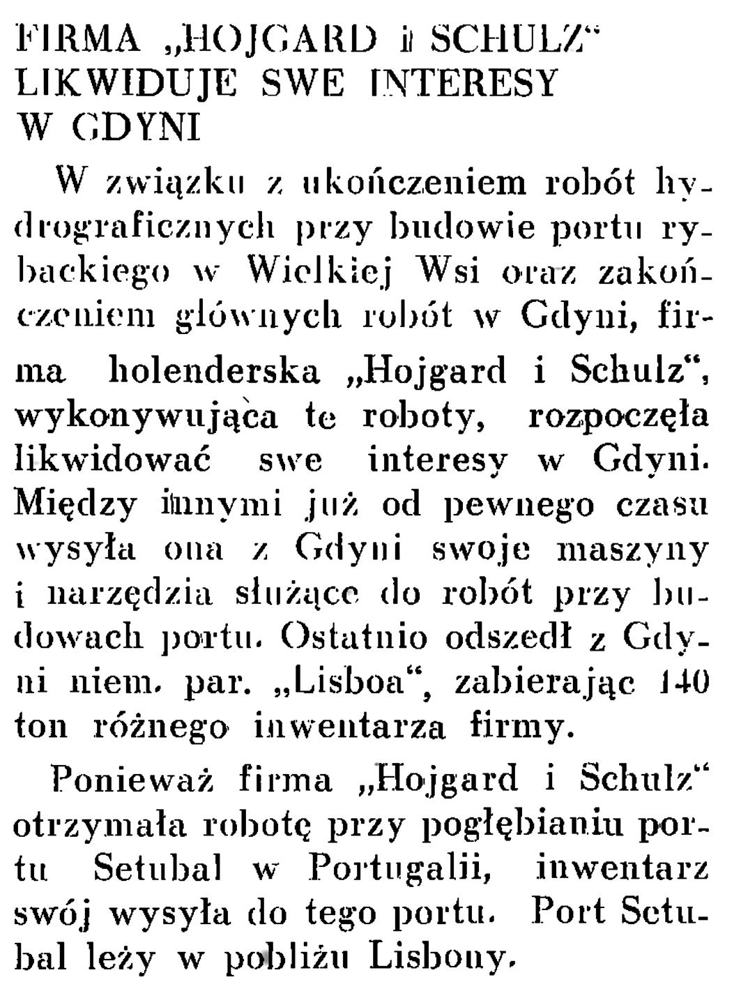 """Firma """"Hojgard i Schulz"""" likwiduje swe interesy w Gdyni // Wiadomości Portu Gdyńskiego. - 1937, nr 12, s. 18"""