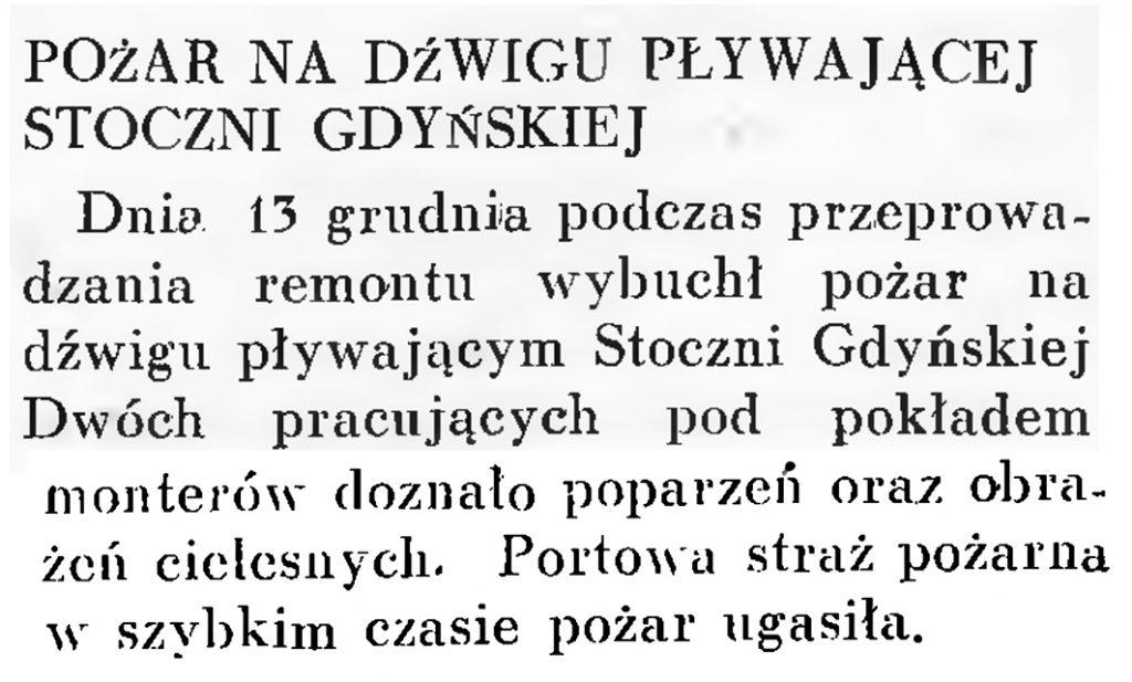 Pożar na dźwigu pływającej Stoczni Gdyńskiej // Wiadomości Portu Gdyńskiego. - 1937, nr 12, s. 19-20