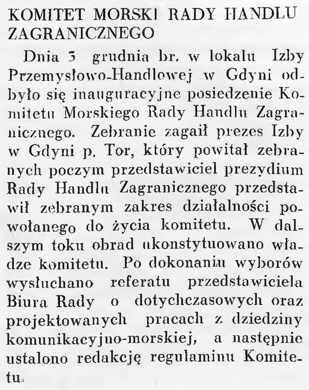 Komitet Morski Rady Handlu Zagranicznego // Wiadomości Portu Gdyńskiego. - 1937, nr 12, s. 19