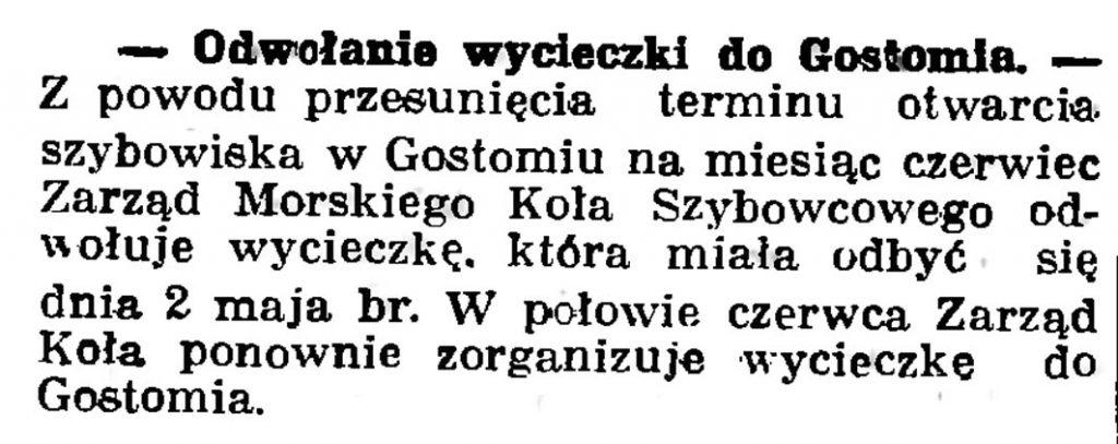 Odwołanie wycieczki do Gostomia // Gazeta Gdańska. - 1937, nr 100, s. 8