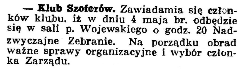 Klub szoferów // Gazeta Gdańska. - 1937, nr 100, s. 8