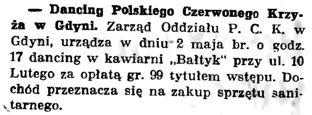 Dancing Polskiego Czerwonego Krzyża // Gazeta Gdańska. - 1937, nr 100, s. 8