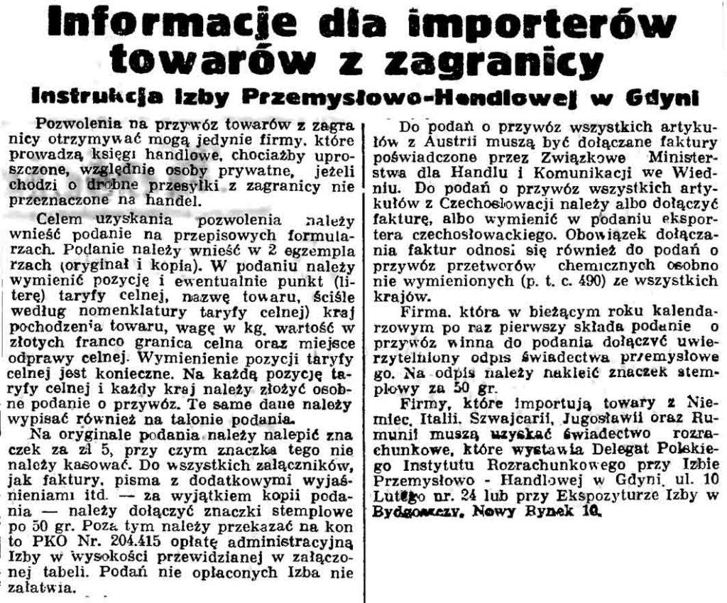 Informacje dla importerów towarów z zagranicy. Instrukcja Izby Przemysłowo-Handlowej w Gdyni // Gazeta Gdańska. - 1937, nr 100, s. 9