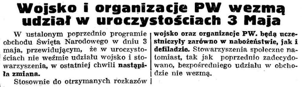 Wojsko i organizacje PW wezmą udział w uroczystościach 3 Maja // Gazeta Gdańska. - 1937, nr 101, s. 13
