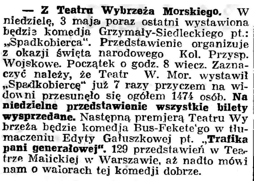 Z Teatru Wybrzeża Morskiego // Gazeta Gdańska. - 1937, nr 101, s. 13