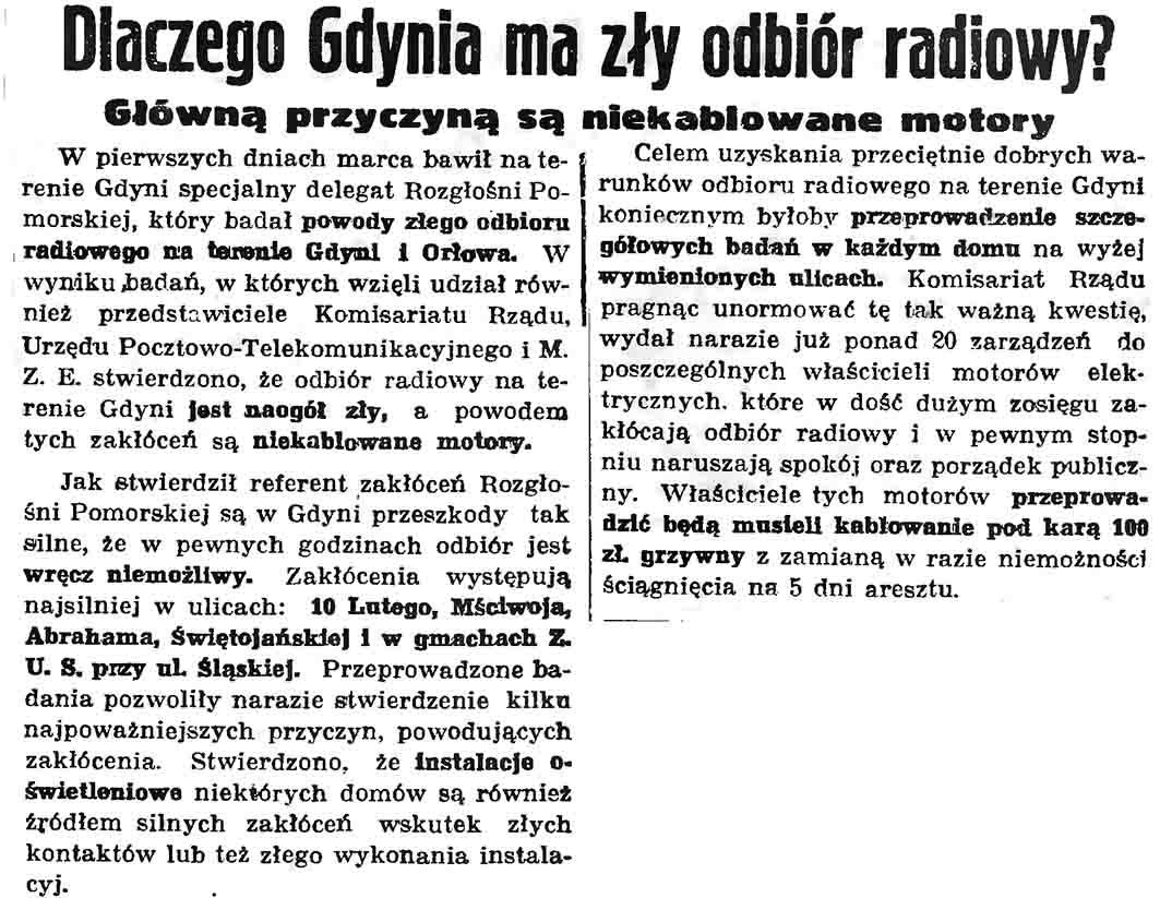 Dlaczego Gdynia ma zły odbiór radiowy? Główną przyczyną są nieokablowane motory // Gazeta Gdańska. - 1937, nr 104, s. 6