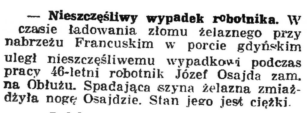 Nieszczęśliwy wypadek robotnika // Gazeta Gdańska. - 193Nieszczęśliwy wypadek robotnika // Gazeta Gdańska. - 1937, nr 149, s. 87, nr 149, s. 8