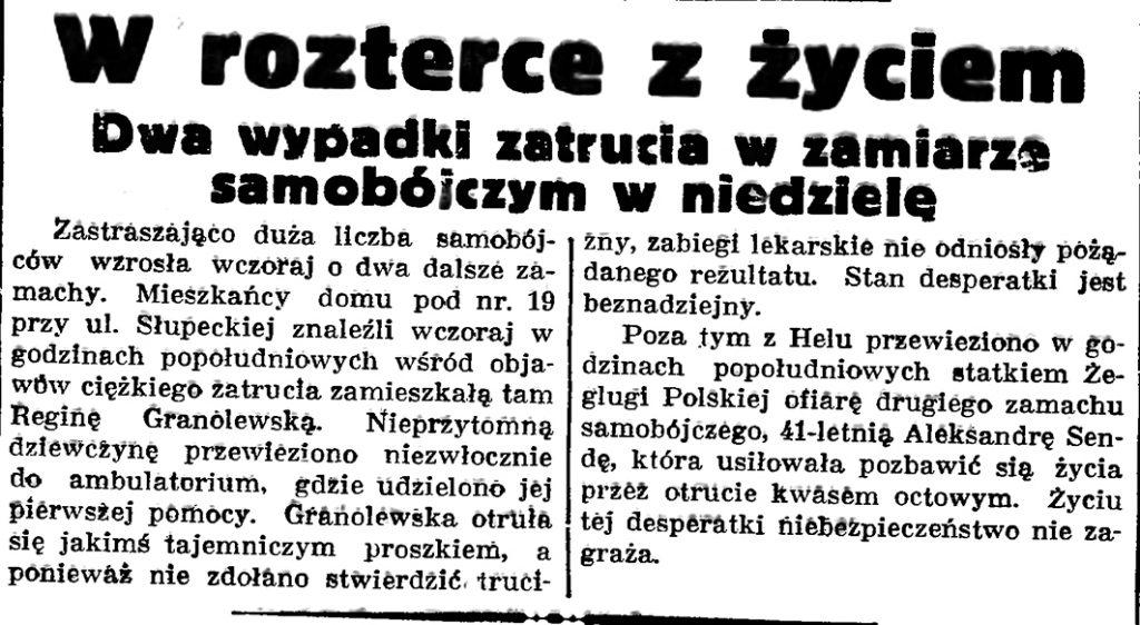 W rozterce z życiem  // Gazeta Gdańska. - 1937, nr 151, s. 6