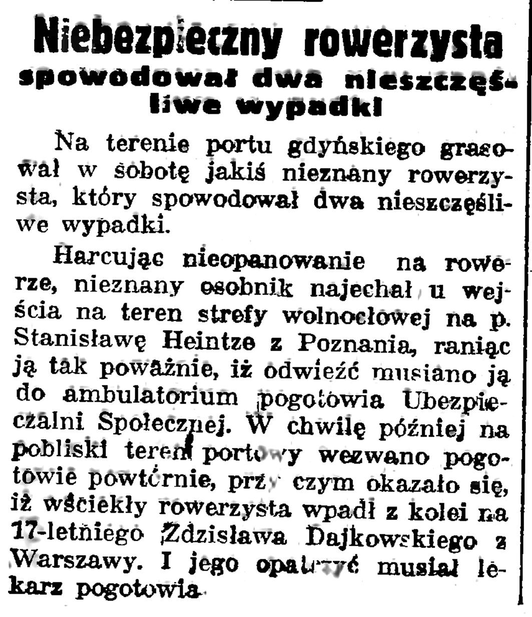 Niebezpieczny rowerzysta spowodował dwa nieszczęśliwe wypadki // Gazeta Gdańska. - 1937, nr 151, s. 6