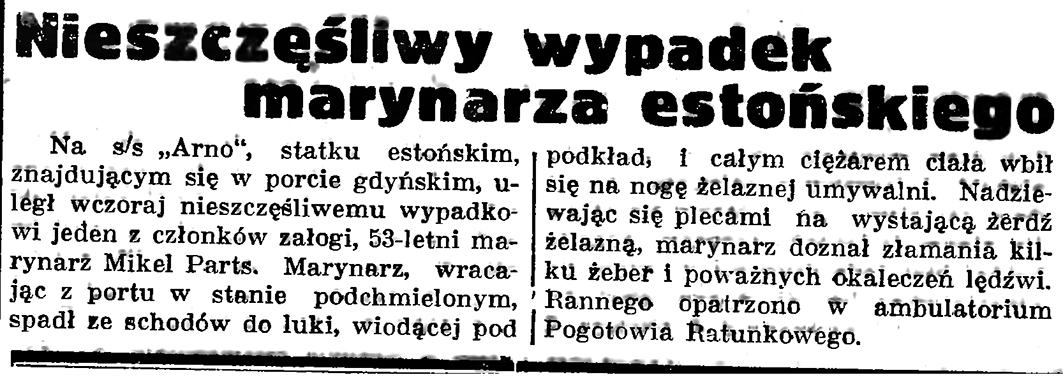 Nieszczęśliwy wypadek marynarza estońskiego // Gazeta Gdańska. - 1937, nr 151, s. 6