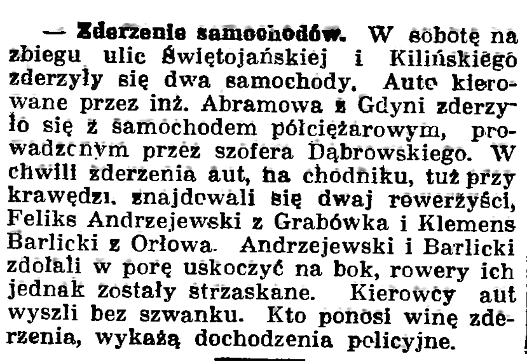 Zderzenie samochodów // Gazeta Gdańska. - 1937, nr 151, s. 6