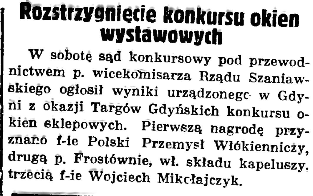 Rozstrzygniecie konkursu okien wystawowych // Gazeta Gdańska. - 1937, nr 151, s. 6