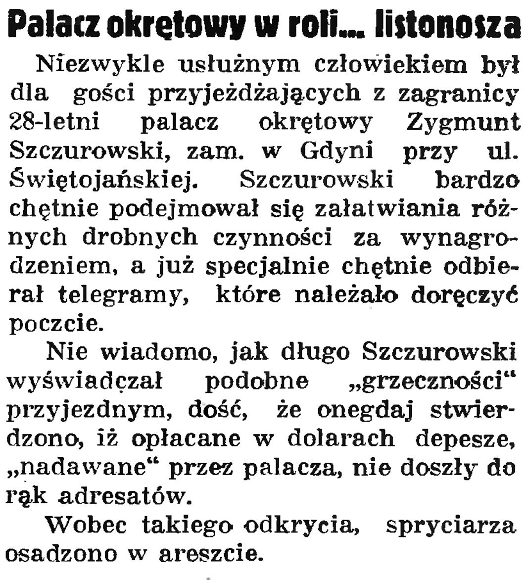 Palacz okrętowy w roli ... listonosza // Gazeta Gdańska. - 1937, nr 152, s. 8