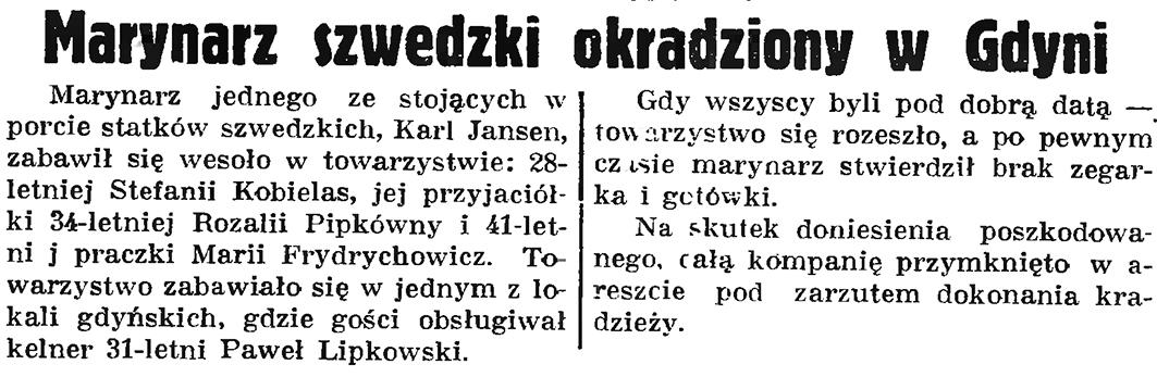 Marynarz szwedzki okradziony w Gdyni // Gazeta Gdańska. - 1937, nr 152, s. 8