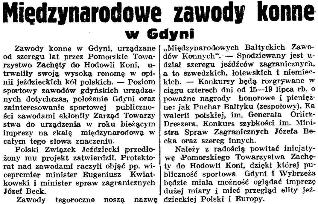 Międzynarodowe zawody konne w Gdyni // Gazeta Gdańska. - 1937, nr 152, s. 9