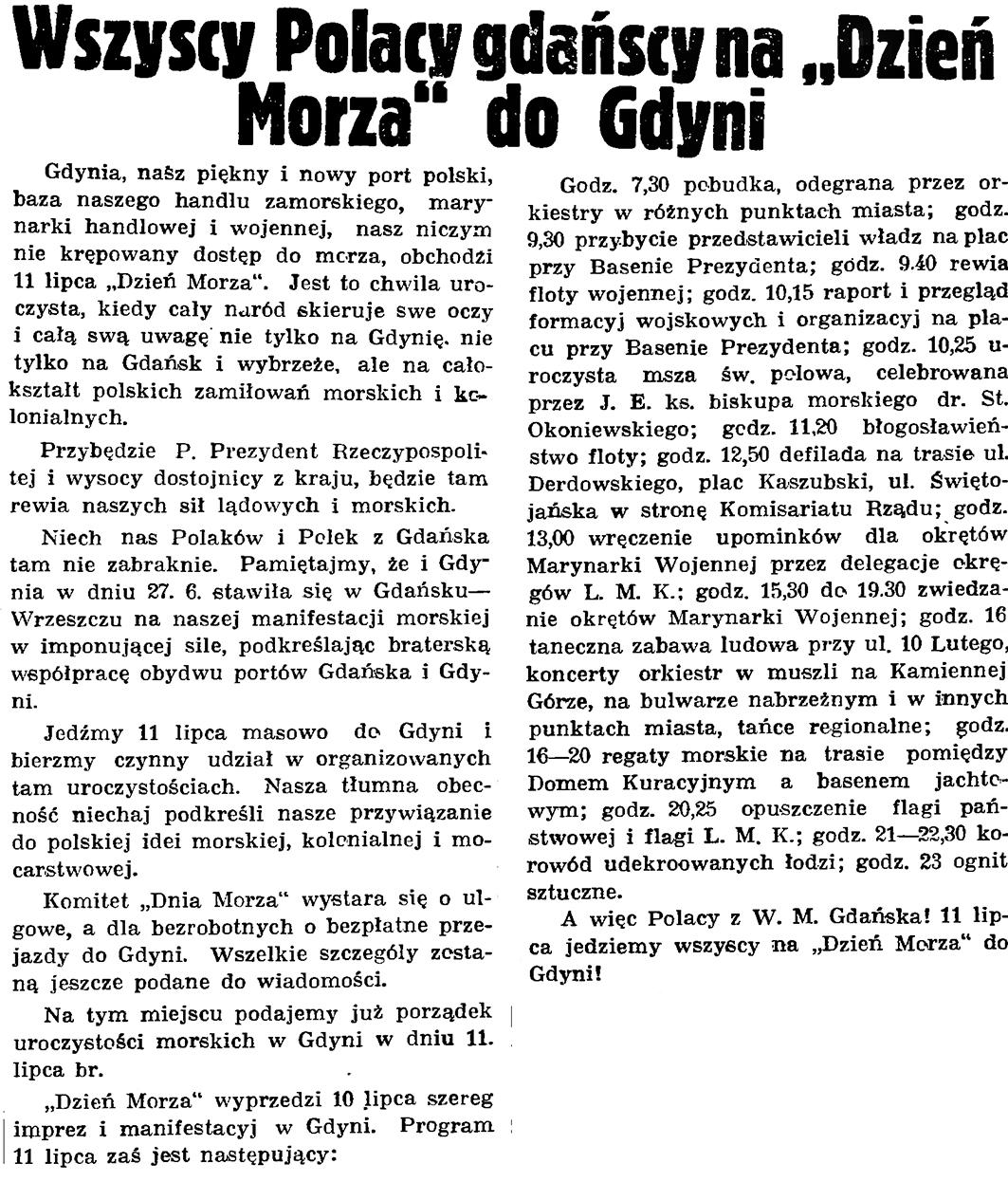 """Wszyscy Polacy gdańscy na """"Dzień Morza"""" do Gdyni // Gazeta Gdańska. - 1937, nr 153, s. 10"""
