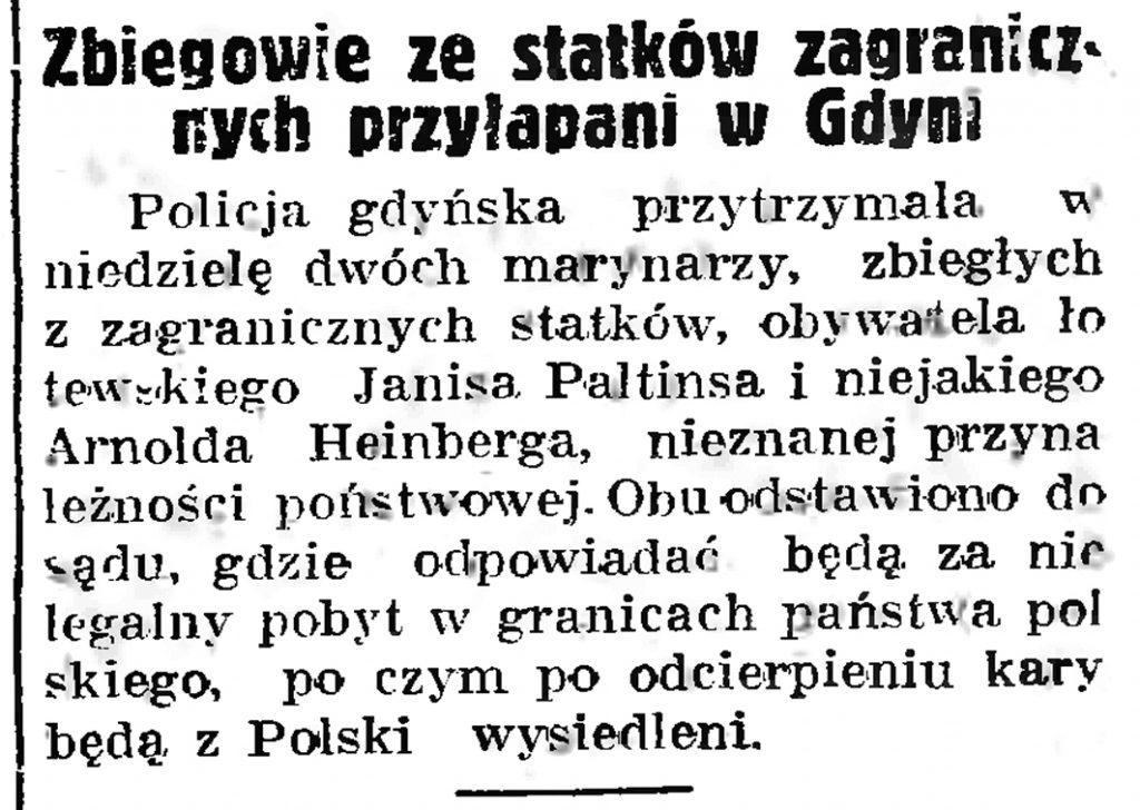 Zbiegowie ze statków zagranicznych przyłapani w Gdyni // Gazeta Gdańska. - 1937, nr 182, s. 8