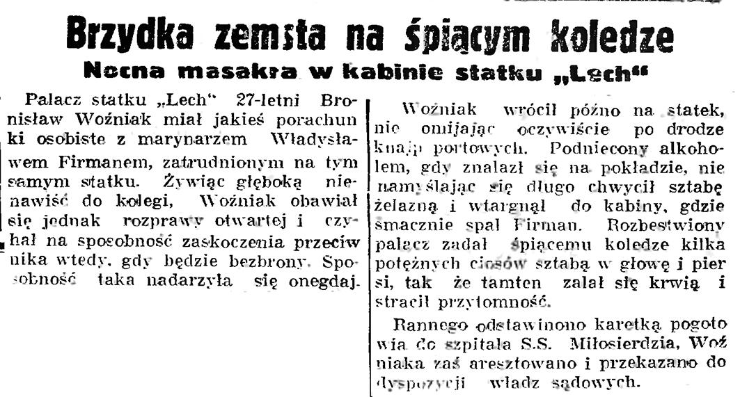 """Brzydka zemsta na śpiącym koledze. Nocna masakra w kabinie statku """"Lech"""" // Gazeta Gdańska. - 1937, nr 182, s. 8"""