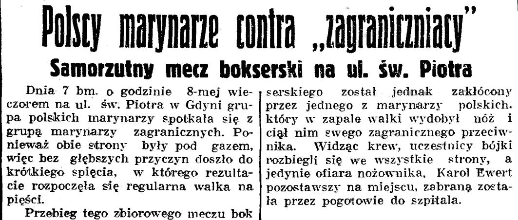 """Polscy marynarze contra """"zagraniczniacy"""". Samorzutny mecz bokserski na ul. św. Piotra // Gazeta Gdańska. - 1937, nr 182, s. 8"""