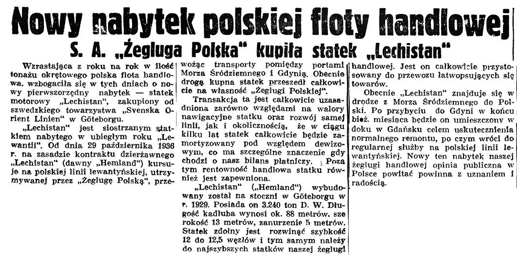 """Nowy nabytek polskiej floty handlowej. S. A. """"Żegluga Polska"""" kupiła statek """"Lechistan"""" // Gazeta Gdańska. - 1937, nr 183, s. 7"""