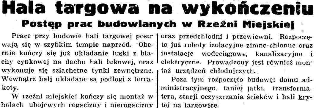 Hala targowa na wykończeniu // Gazeta Gdańska. - 1937, nr 183, s. 8