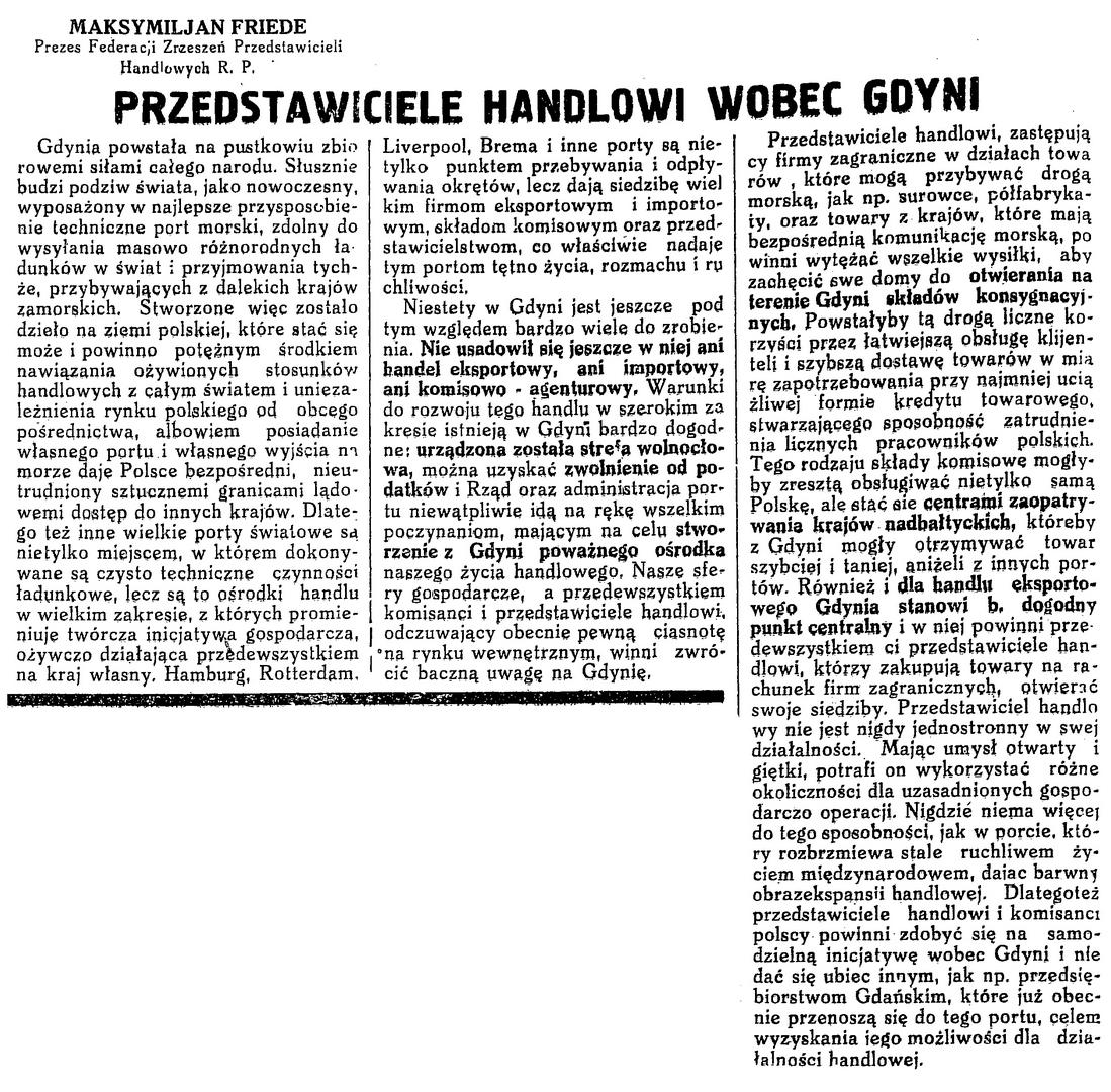 Przedstawiciele handlowi wobec Gdyni