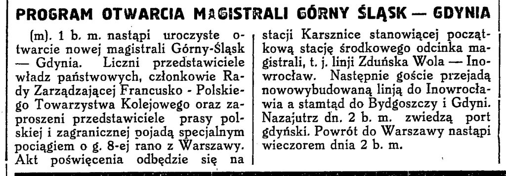 Program Otwarcia magistrali Górny Śląsk - Gdynia