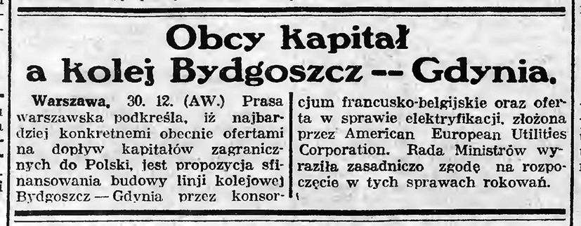 Obcy kapitał; kolej Bydgoszcz - Gdynia