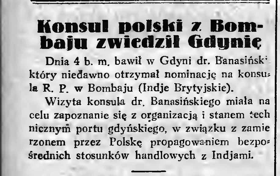Konsul polski z Bombaju w Gdyni