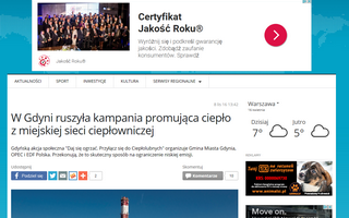 W Gdyni ruszyła kampania promująca ciepło z miejskiej sieci ciepłowniczej