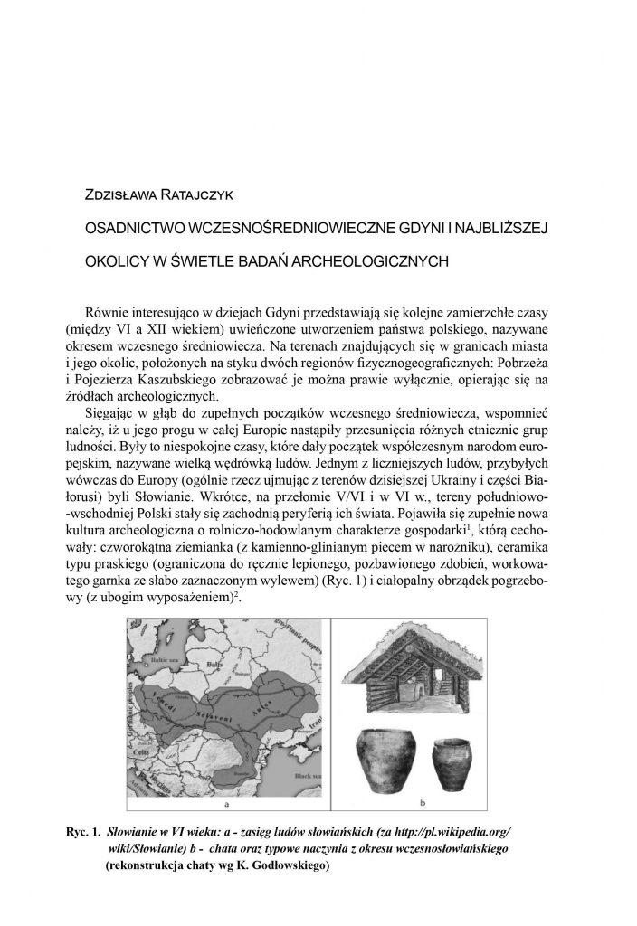 Osadnictwo wczesnośredniowieczne Gdyni i najbliższej okolicy w świetle badań archeologicznych