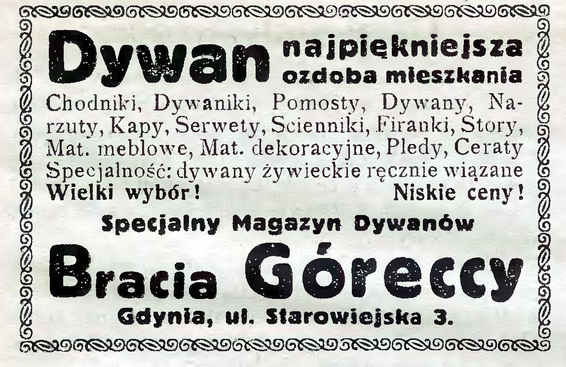 Dywan najpiękniejsza ozdoba mieszkania Specjalny Magazyn Towarów Bracia Góreccy, Gdynia, ul. Starowiejska 3