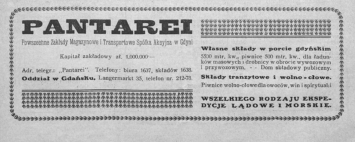 PANTAREI Prywatne Zaklady Magazynowe i Transportowe Spółka AKcyjna w Gdyni