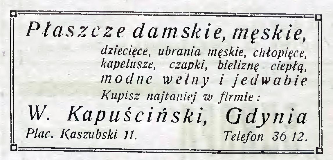 Płaszcze damskie, męskie W. Kapuściński
